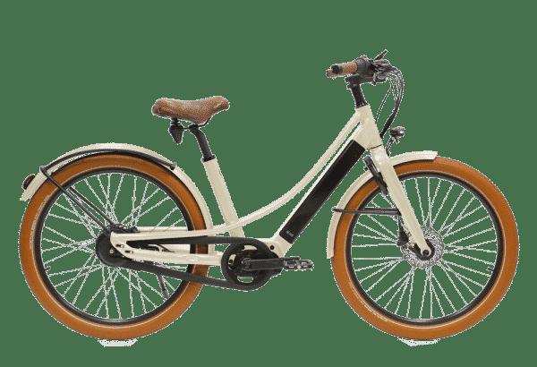 vélo électrique couleur Blanc crème en version cadre bas Reinebike