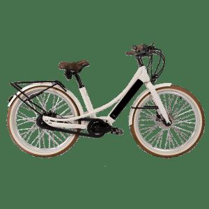 vélo électrique blanc avec porte-bagage