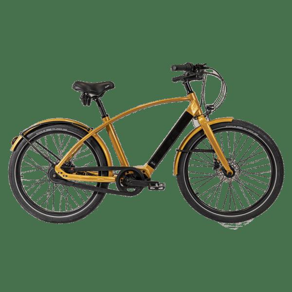 vélo électrique doré cadre haut avec porte sacoche