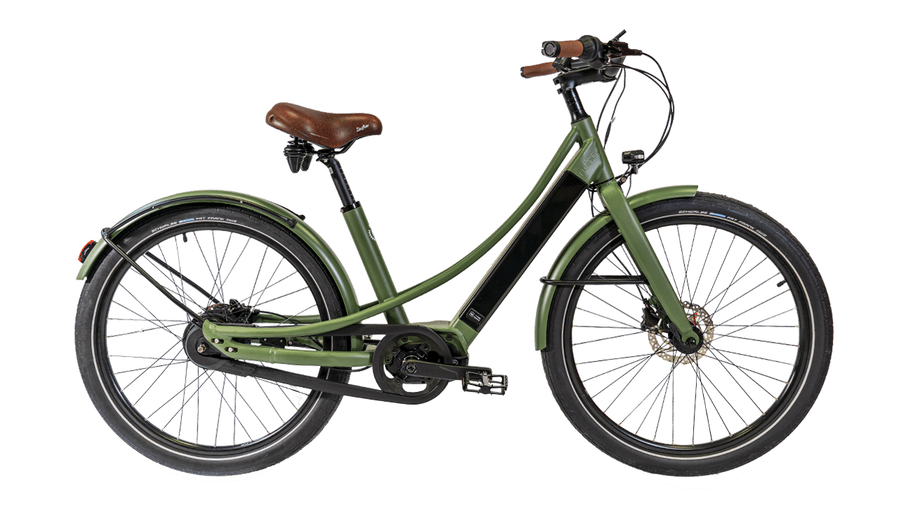 vélo électrique Nantes kaki en cadre bas