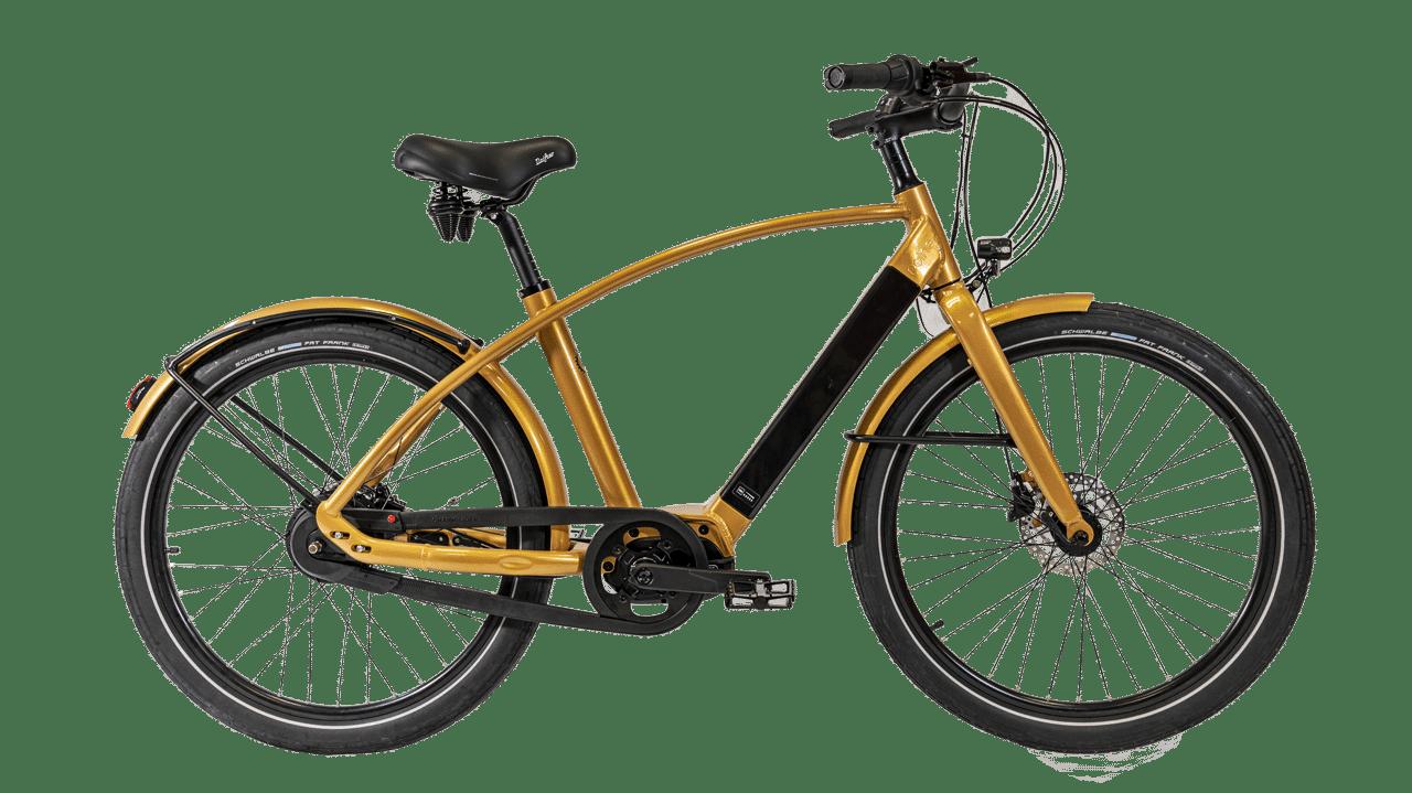 vélo électrique Nantes coloris doré en cadre haut