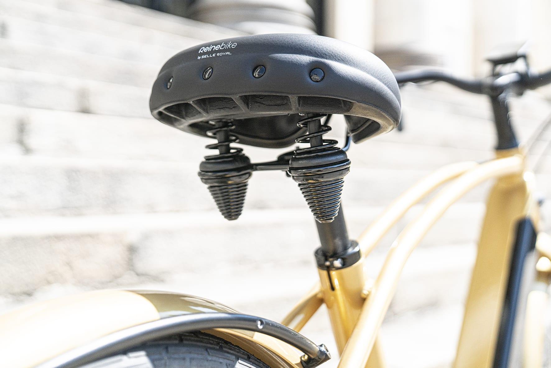 selle confort a double ressort du vélo électrique haut de gamme Reine Bike