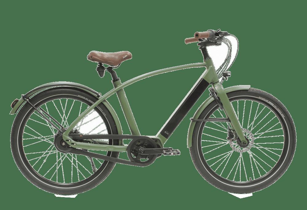 vélo électrique couleur Kaki en version cadre haut de la marque haut de gamme française Reinebike