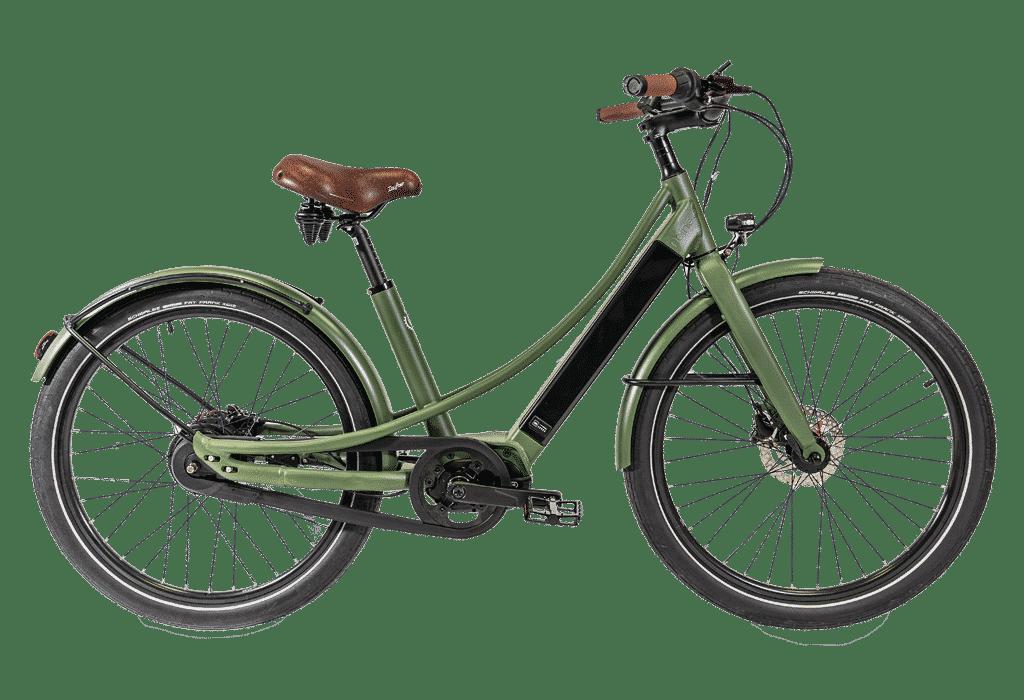 vélo électrique couleur Kaki en version cadre bas Reinebike Made in France