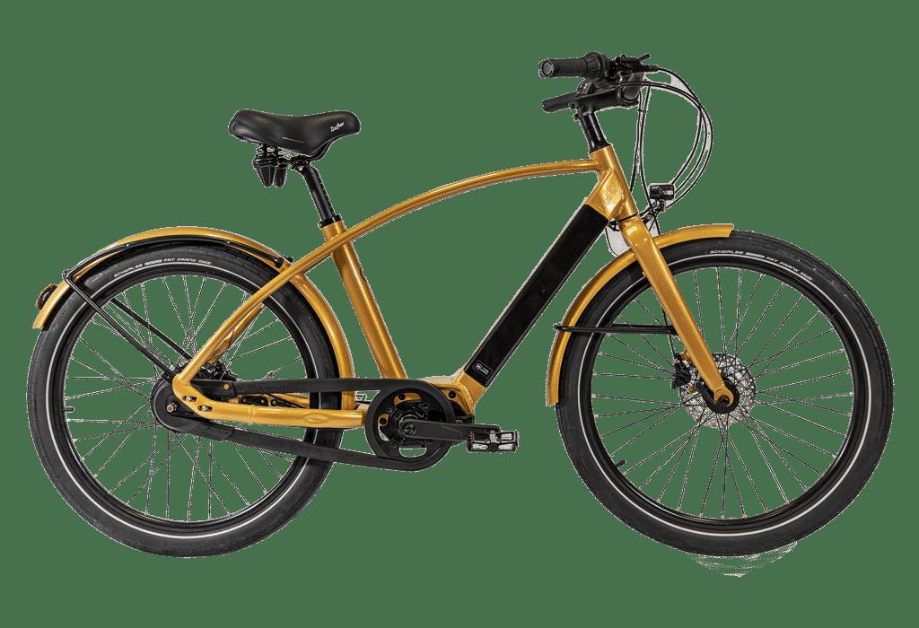 vélo électrique haut de gamme coloris doré en version cadre haut Reinebike Made in france