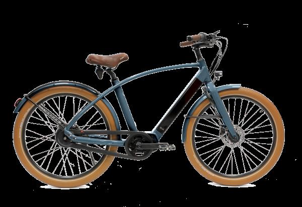 vélo électrique couleur bleu foncé en version cadre haut Reinebike